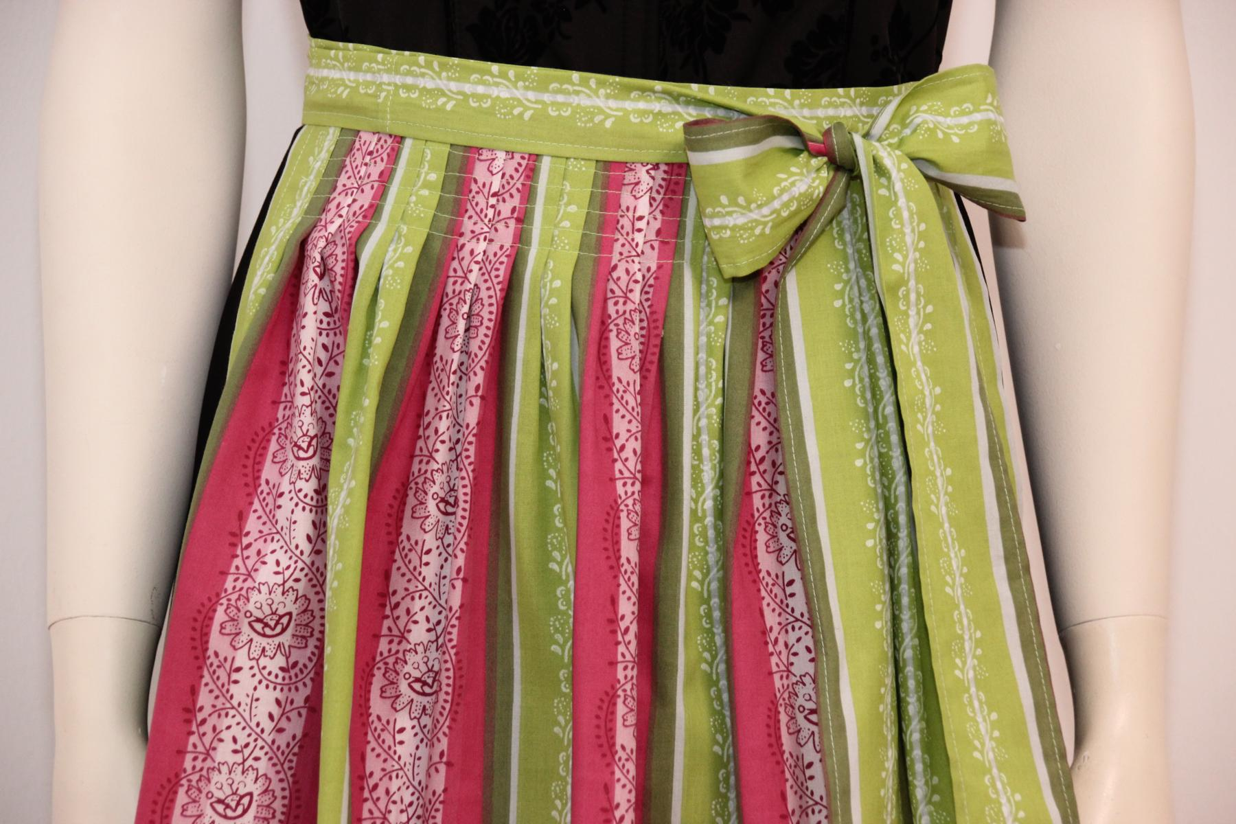 Dirndlschürze - lindgrün / pink